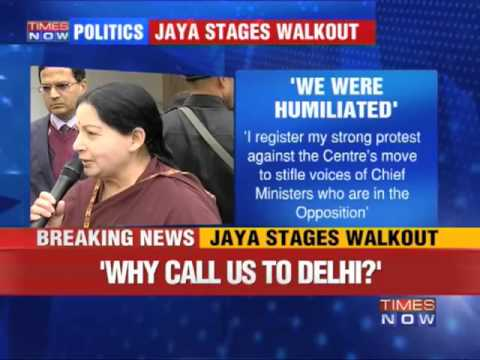 TN CM J Jayalalithaa walks out of NDC