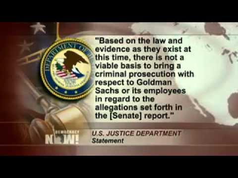 JusticeDept. SaysNoProsecutions ofGoldmanSachs