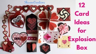 12 Card Ideas for Explosion Box/ DIY Valentine's Day Explosion Box Part Two