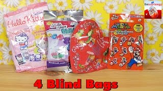 4 blind bags Hello Kitty, Bella Sara, Princess Lillifee, Super Mario toys unboxing opening