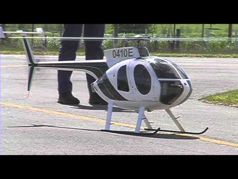 Jet turbine powered RC model helicopter (Huges 500E)
