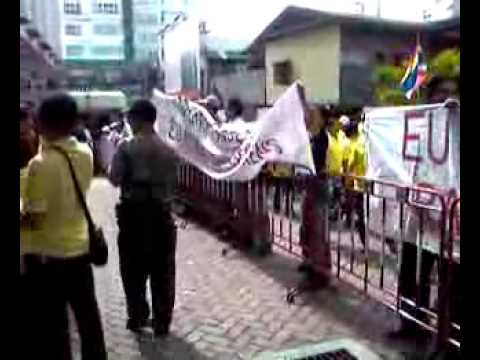 Demonstration in Bangkok against taxes on Chicken of the EU