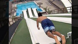 Er verfehlte den Pool und stürzte auf..