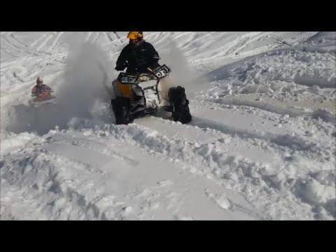 Can-am, Yamaha, Polaris WOT in a deep snow pit.