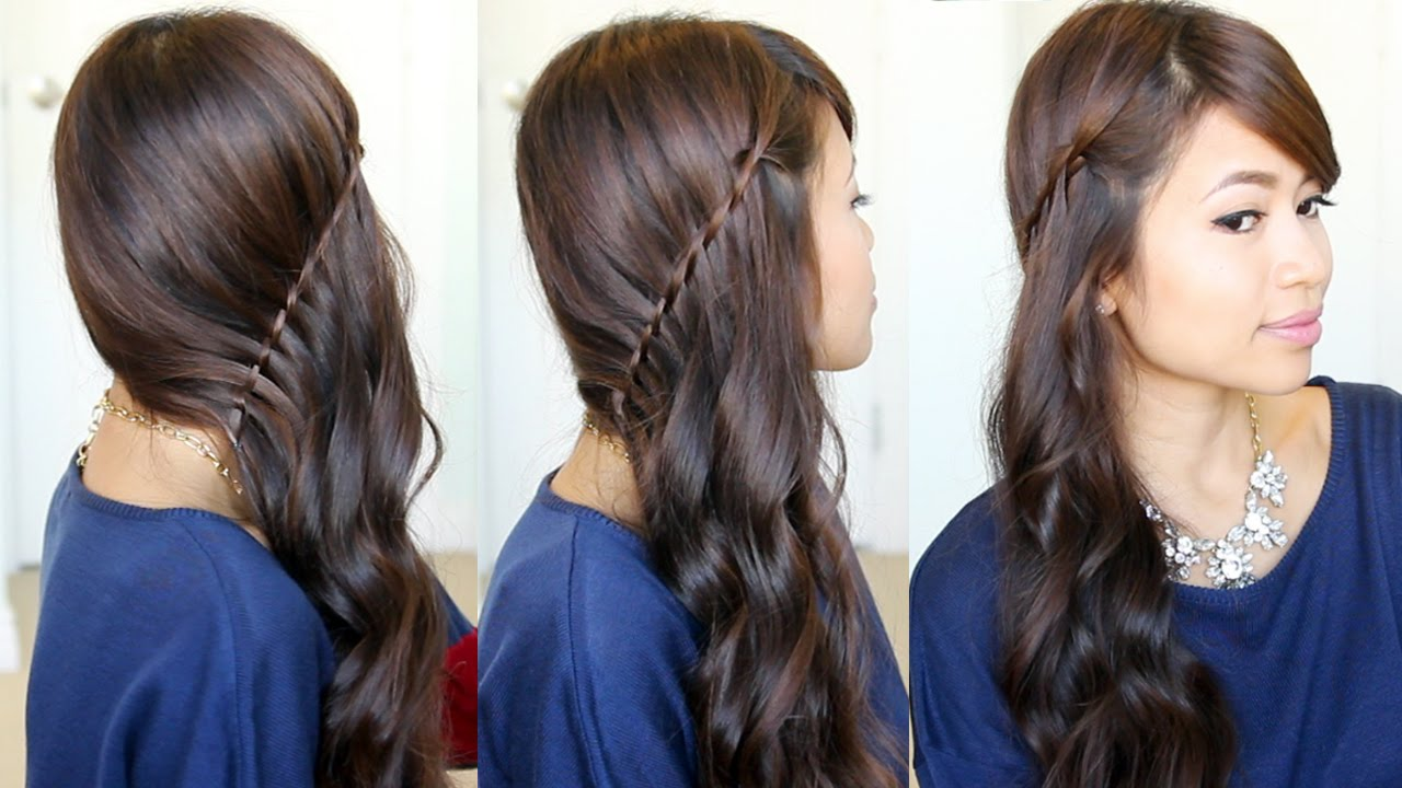 Side Swept Waterfall Twist  Prom Hairstyles For Curly Hair To The Side
