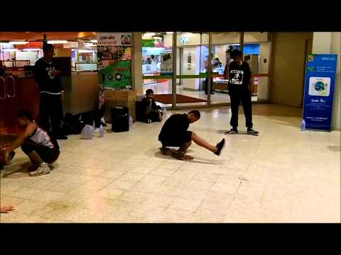 Bangkok B-Boy, and B-Girl workout, Break dance practice outside Big-C.