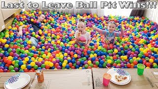 Last One To Leave The Ball Pit Wins! 24 Hour Challenge!