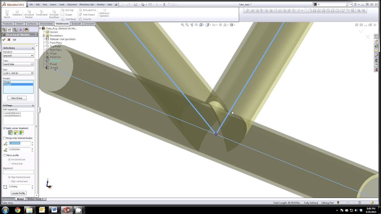 Solidworks 3d Sketch Tube Weldment Cope Tubes Flat