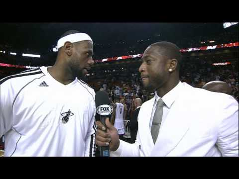 Wade Conducts Postgame Interview with LeBron