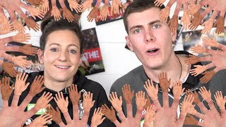 COULD YOU CATCH THIS FOOTBALL? Collingwood players try the Tiny Hands Challenge