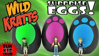 WILD KRATTS TEAM!! 3 Play-Doh Surprise Eggs! Chris, Aviva & Martin!! TEAMWORK! PBS Fun + BLIND BAGS!