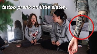 fake tattoo PRANK on little sister😱 *cute reaction*