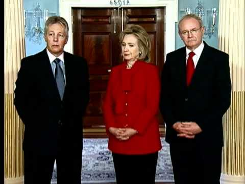 Secretary Clinton Holds a Bilat With N. Ireland Ministers Robinson and McGuiness