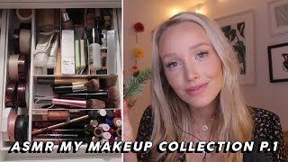 ASMR Makeup Collection Show And Tell (Tapping, Whispers, Lid Sounds…) Part One | GwenGwiz