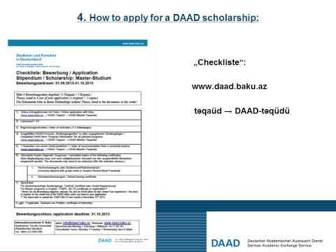 Master Scholarship 2013 09 DAAD Baku