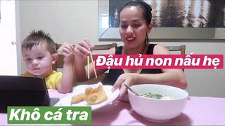 Vlog 155    ĂN TRƯA VỚI CANH ĐẬU HỦ NON NẤU HẸ VÀ KHÔ CÁ BASA CHIÊN GIÒN