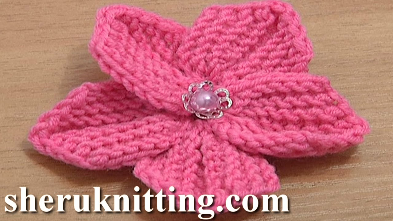 Knitting Flowers Design : Beautiful five petal flower to knit tutorial knitting