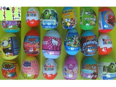 Surprise eggs unboxing Kinder Surprise Disney egg toy surprise Spiderman Hello Kitty