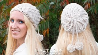 DIY Tutorial - How to Crochet Soft Twist Hat - Slouchy Hat with Pom Poms