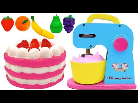 Squishy Strawberry Cake Play Doh and Mixer Playset for Children Learn Colors