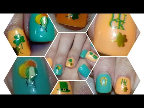 ST.PATRICK'S DAY NAIL DESIGNE ON FULL COVER TIPS