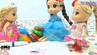 Thơ Nguyễn - Búp bê tập pha màu bằng đồ chơi popin cookin