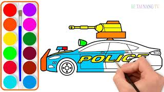 Ve xe canh sat  Day be to mau  Be hoc mau bang tieng anh Police car drawing and coloring for kid