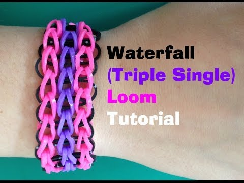 Loom Bands Waterfall (triple Single) Loom Bracelet Tutorial L Jasminestarler video