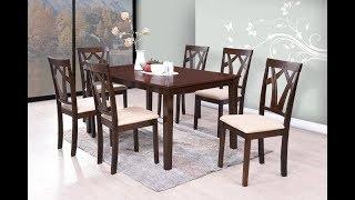 Furn Central Estela Solid Wood 6 Seater Dining Set  (Finish Color - Espresso)