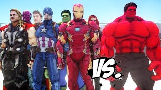 THE AVENGERS VS RED HULK - EPIC SUPERHEROES BATTLE   DEATH FIGHT