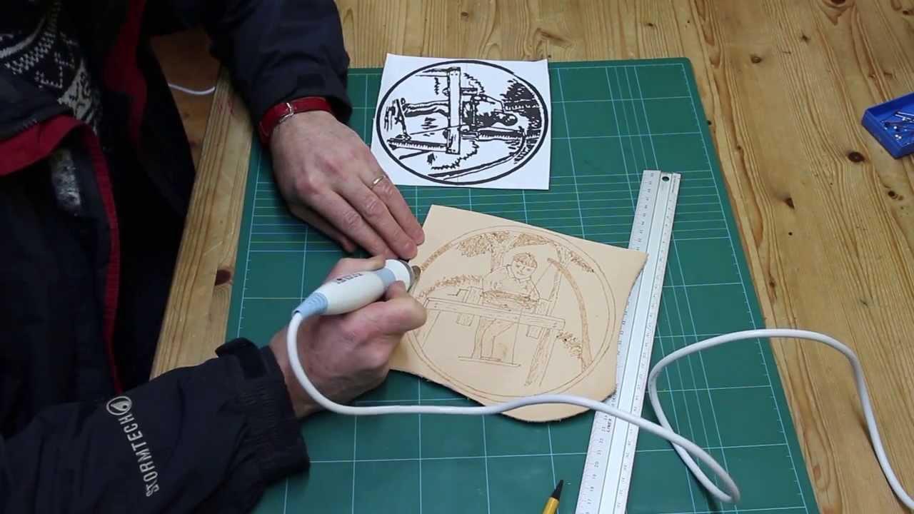 Burning Designs on Leather - Pyrography - YouTube