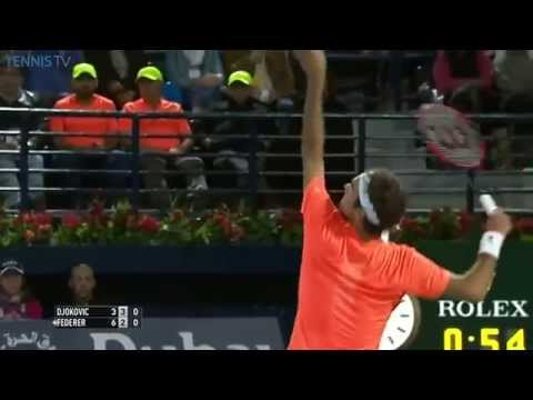 Roger Federer's 9000th ace - ATP Dubai Duty Free Tennis Championships Final vs Djokovic