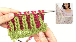 How to knit English rib with two colors (how to start)