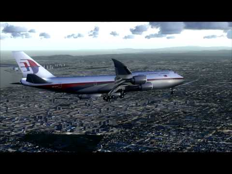 Malaysia Airlines Boeing 747-8 landing at San Diego CA
