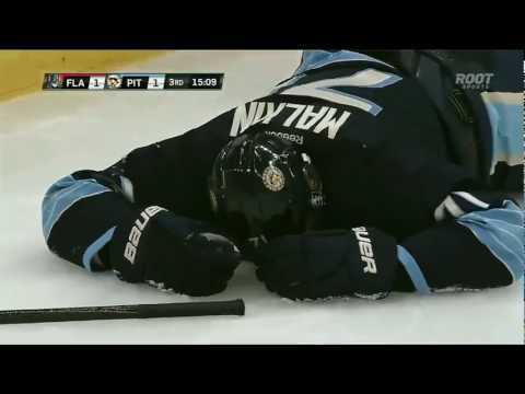 Evgeni Malkin is injured by Erik Gudbranson's hit . Feb 22nd 2013