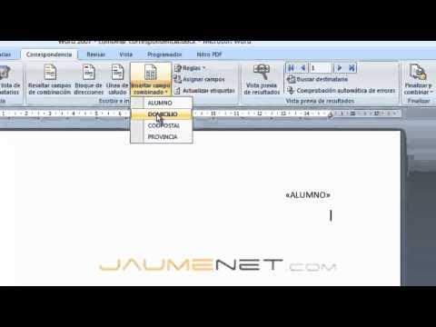 Word 2007 - Combinar correspondencia
