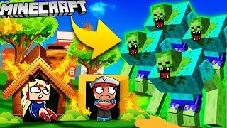 🌊 BAZA VS MUTANT ZOMBIE - MINECRAFT TSUNAMI CHALLENGE | Vito VS Bella