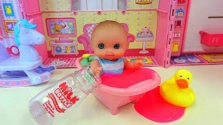 Baby and colorful rainbow ball / milk bottle / baby doll refrigerator toy