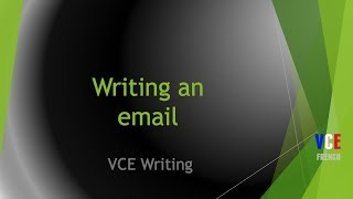 Writing an email - French VCE text types