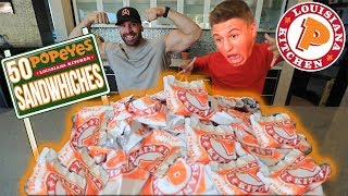 Attempting to eat 50 Popeyes Chicken Sandwiches..