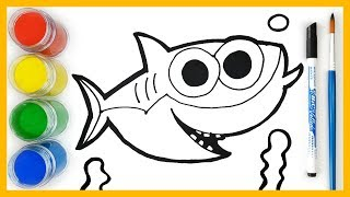 How to draw Baby Shark   Coloring Pages - Learn Colors for Kids (색깔 배우기, 영어 배우기)