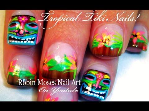 Tiki Mask Nail Art Tutorial | Hawaii Nails design tutorial