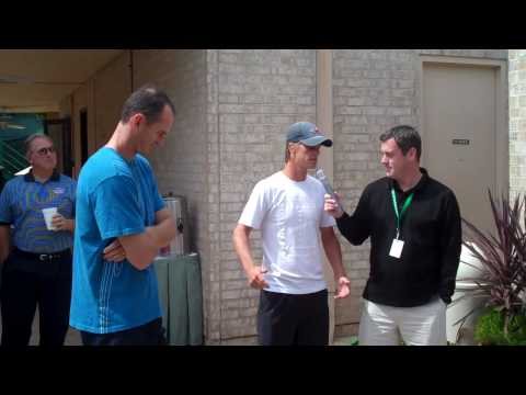 Pete Holterman interviews Wesley Moddie and Stephen Huss at the 2010 USTA Member Appreciation Day held April 9 at the U.S. Men's Clay Court Championships at ...