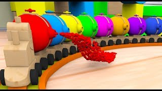 Learn Colors with Jolly Train and Soccer Balls for Kids