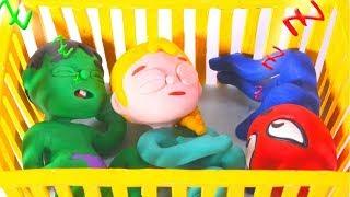 SUPERHERO BABIES SHARE CRIB ❤ Superhero & Frozen Elsa Play Doh Cartoons For Kids