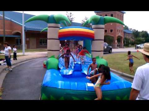 j h gunn elementary  tropical slip n slide w/pool youtube