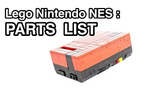 Lego Nintendo NES: PARTS LIST