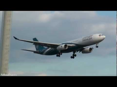 Oman Air Airbus A330 Landing at London Heathrow Airport (full HD)