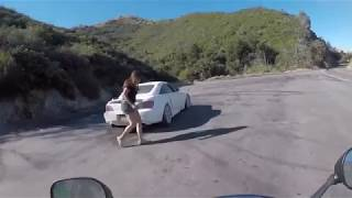Extremely Close Call For Motorcyclist As Honda S2000 Spins Out of Control