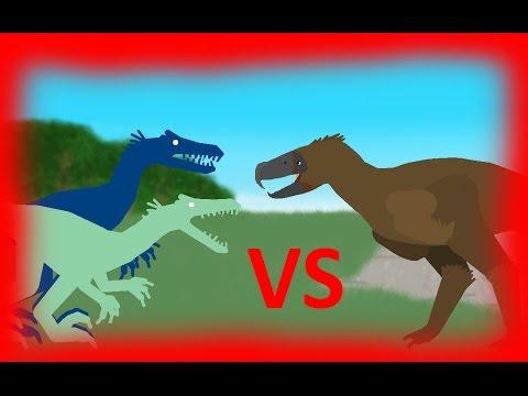 Dinosaurs Battles: Kelenken vs 2 Velociraptors Динозавры мультик